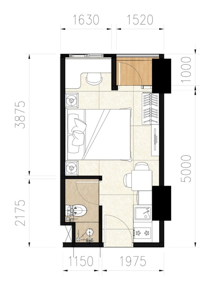 design lay out apartemen studio juanda